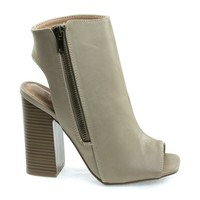 Darlyn06 Natural By Wild Diva, Peep Toe Ankle Booties, Stack Chunky Block Heel w Open Heel & Zipper
