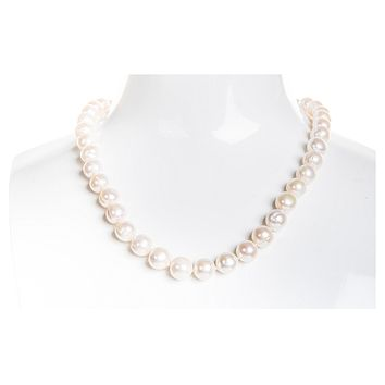 Single Strand White Freshwater Pearl Necklace 9-10mm