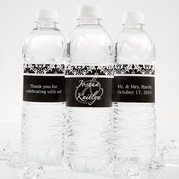 Damask Personalized Water Bottle Labels