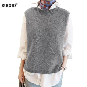 Spring Autumn Wool Sweater Vest Women Sleeveless O-Neck Knitted Vests Long Sections Poullover Vest Female Jumper pull