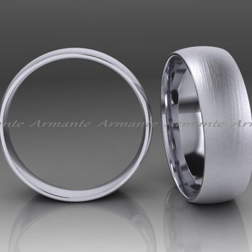 14K White Gold Brush Mens Wedding Band 6.00mm Wide