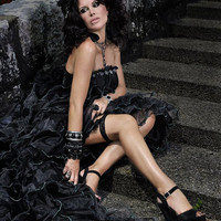 Black Gothic Couture Straples Wedding Dress - Darmiani Flora Noir