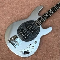 Electric guitar The best custom shop, guitar, bass guitar, silver color, 4 string bass guitar