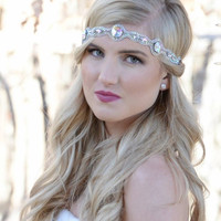 Pink Pewter Jeweled Stretch Headband KELLI White AB -Wedding Prom Hair Accessory