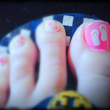 Super cute Flip Flop vinyl Toe Nail Decals