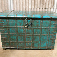 Antique Blue Storage Trunk-Banded with Original Iron