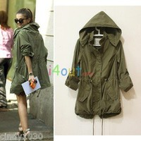 NW WOMEN FASHION HOODIE DRAWSTRING ARMY GREEN MILITARY TRENCH PARKA JACKET COAT