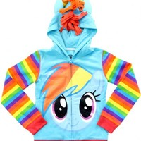 My Little Pony Rainbow Dash Blue Girls Costume Striped Hoodie Sweatshirt
