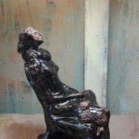 Seating Girl Sculpture - Life Drawing in Ceramic