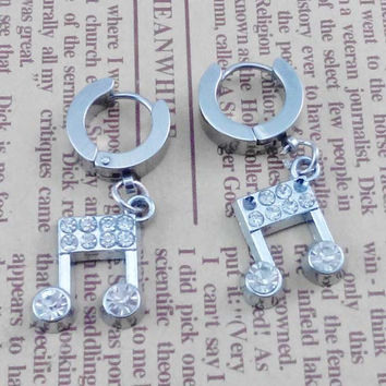 Pairs   2pcs  Music notation     Gothic Rock Clip Ring Earrings , Stainless Steel  Ear studs  , Bride wedding gift ,  Earing Stud Piercing,