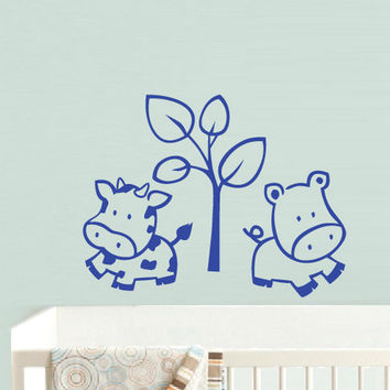 rvz776 Wall Decal Vinyl Sticker Nursery Kids Baby Cow Tree