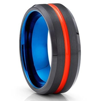 Orange Tungsten Ring - Black Tungsten Wedding Band - Blue Tungsten - Brush