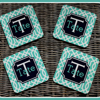NEW HARD BOARD Monogrammed Coasters, Personalized Drink Coasters Monogrammed Gift Personalized Gift