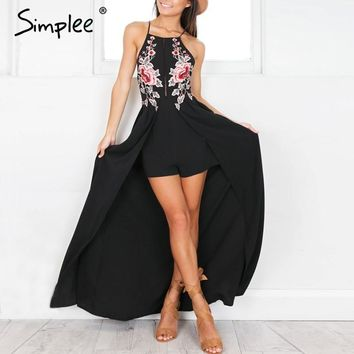 Simplee Elegant Backless Embroidery Playsuit