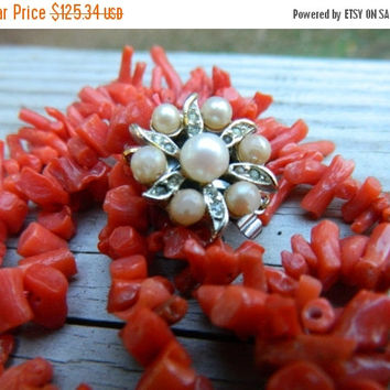 Antique Mediterranean Coral Necklace, Women Necklace, Gold, Pearl, Red Necklace, Orange Necklace, Gift for Her, 1920s