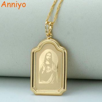 Anniyo Computer Engraving Jesus Head Pendant Necklaces Gold Color Chain Women Christian Jewelry Crucifix #041804