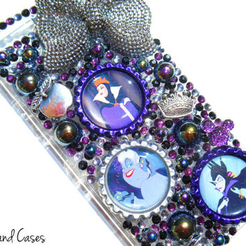 Custom Villains Phone Case Evil Queen Ursula Maleficent iPhone 6 Bling Phone Case Cover Rhinestone Phone Case iPhone 6 5 5S Case