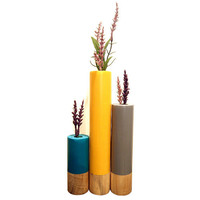 Modern Tricolored Wooden Vase (Pictured In Mustard, Slate and Teal) Wooden Home Decor Candle Holder Modern