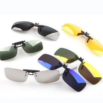 Unisex Polarized Clip On Sunglasses Driving Night Vision Lens Anti-UVA Anti-UVB Cycling Riding Sunglasses Clip For Near-Sighted