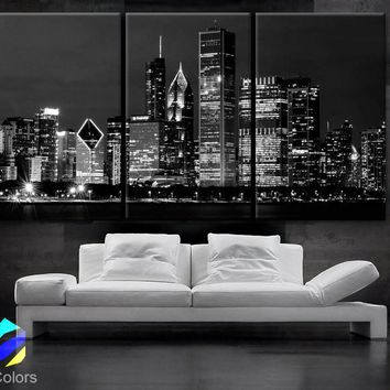 "LARGE 30""x 60"" 3 Panels Art Canvas Print Beautiful Chicago skyline at night light buildings Wall Home"