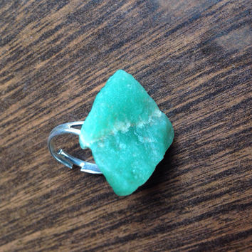 Raw Aventurine Crystal Ring Aventurine Jewelry Raw Crystal Ring Raw Crystal Jewelry Boho Ring Heart Chakra Ring Healing Crystals and Stones
