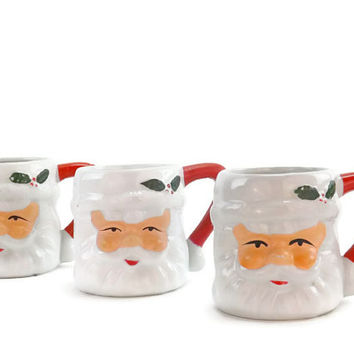 Vintage Santa Claus Mug Set Vintage Christmas Mugs Set