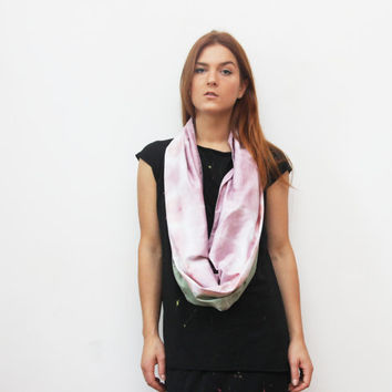 VIRGO/ Olive & Violet satin convertible hand colored long scarf with leather cuff - Ready to Ship