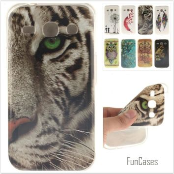 Cartoon Owl Tiger Painted Glossy Soft TPU Silicon Back Cover Mobile phone Case for Samsung Galaxy Core Plus G3500 G350 SM-G350