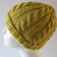 Hand knit hat, green knit cable beanie