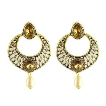 DCCKV2S VVS Jewellers Gold Tone Dazzling Traditional Indian Bollywood Style Ethnic Women Polki Kundan Earrings