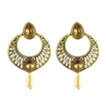 LMFXT3 VVS Jewellers Gold Tone Dazzling Traditional Indian Bollywood Style Ethnic Women Polki Kundan Earrings