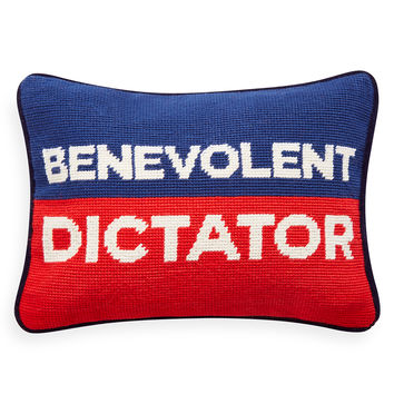 Jonathan Adler Benevolent Dictator Needlepoint Pillow