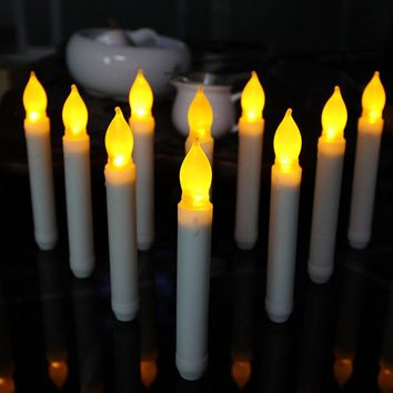 2013Newestseller Set of 12 Flameless Amber Ivory Mini Wax Dipped Flickering LED Taper Candles Indoor Party Decoration