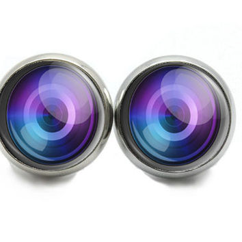 Photo Lens Stud Earrings, Small Purple And Blue Stud Earrings, Earrings for Photographer