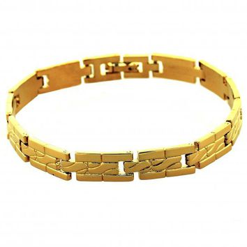 Gold Layered 5.034.010 Solid Bracelet, Diamond Cutting Finish, Gold Tone
