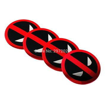 40 x Car Styling Cartoon Deadpool 3D Metal Chrome Aluminium Alloy Wheel Center Cap Stickers Wheel Hub Cap Decals Emblems Badges