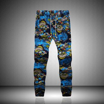 Men's small floral pattern Breathable Linen pants men hip hop harem pants men casual trousers elastic joggers sweatpants MQ473