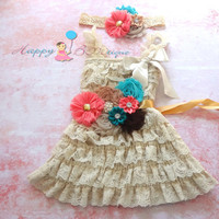 Waves of the Cayman lace dress set, Ivory Dress,Girls gress,flower girl dress,baby dress, Birthday outfit, baby Christening, flower sash