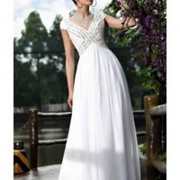 Sheath V-neck Cap Sleeves Beaded Tencel Evening Dress [dressca7782] - £94.16 : dressca.com!, custom made wedding dresses