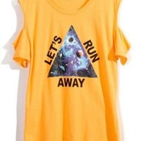 Triangle Print Orange Cut Out T-shir S010439