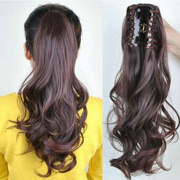 Clip in Claw Jaw Ponytail Pony tail Hair Extensions Wavy Straight hair piece ssn