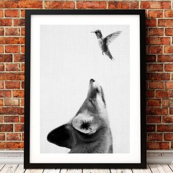 Woodland Fox With Bird Canvas Print Wall Art Pictute , Wilderness Forest Animal Fox Canvas Painting Poster Farmhouse Art Decor