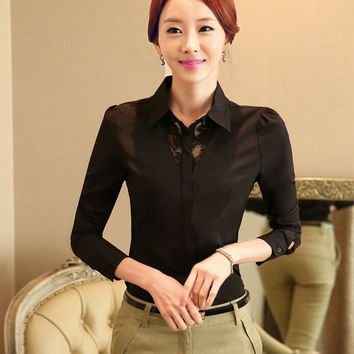 Fashion Women OL Lady Long Sleeved Blouse = 1782336644