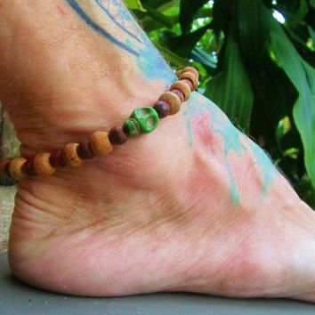 Wooden Beaded Skull Anklet / Beaded Ankle Bracelet / Unisex Beaded Anklet / Boho Anklet / Manklet / Surfer Beaded Anklet / Mens Anklet