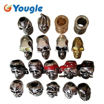 YOUGLE 5 pcs/lot Charm Metal Skulls Beads For DIY Paracord Bracelets Knife Flashlight Lanyards Pendant Accessories