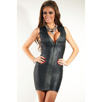 Metallic Black Bandage Dress LAVELIQ