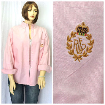 Vintage 80s Ralph Lauren pink oxford shirt L  Lauren preppy long sleeve pristine button down cotton oxford blouse size 14 SunnyBohoVintage