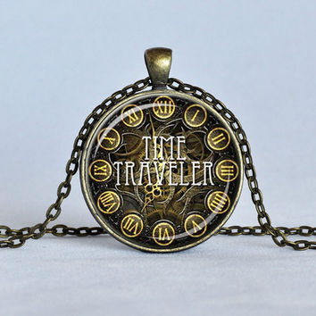 STEAMPUNK Time Traveler Pendant Sci Fi Necklace Science Jewelry Clock  Necklace Quantum Physics Jewelry Bronze and White Time Travel