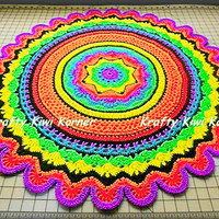 Crochet Rainbow Round Floor Rug - Made to Order
