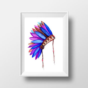printable feather headdress print tribal headpiece native american southwestern boho wall art nursery decor bohemian boy room Indian kid